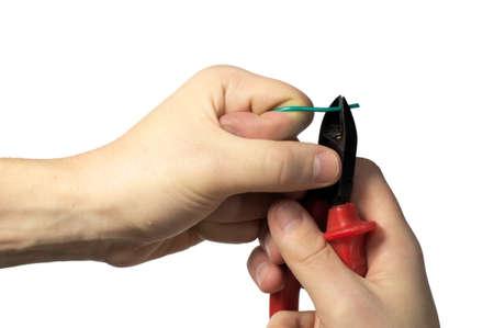 engeneer: Engeneer hands scutting  wire