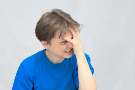 Caucasian white Man crying in despair
