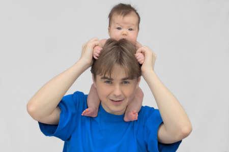 parentage: European man with newborn baby child Stock Photo