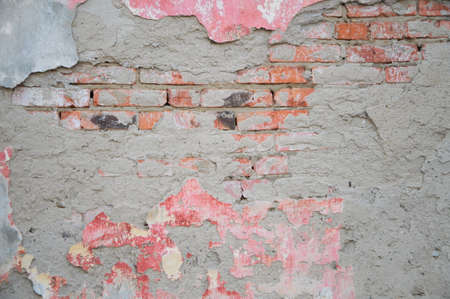 crumbling: Old brick wall with crumbling plaster Stock Photo
