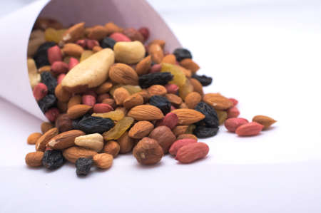 apricot kernels: Crnucopia with almond, cashew, raisin, black, yellow, apricot, bone, hazelnut, walnut, peanut