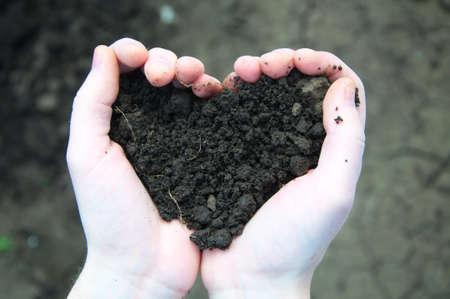 손 토양 배경에 심장의 형태로 검은 흙을 들고 스톡 콘텐츠