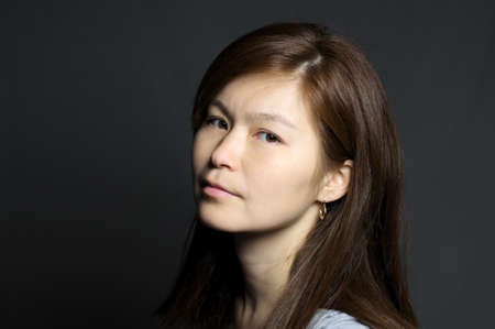 Portrait of asian woman, dark background photo