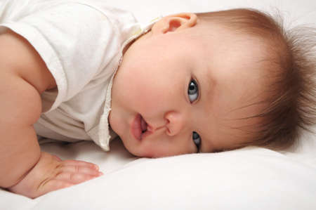 Newborn baby looking. Cute and adorable, Caucasian Stock Photo