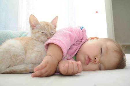 흰 시트에 함께 자고있는 아기와 고양이 스톡 콘텐츠