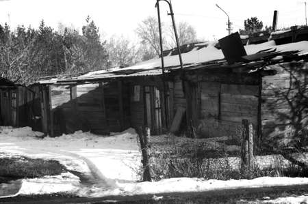 poor abode in Russia. white and black shoot.