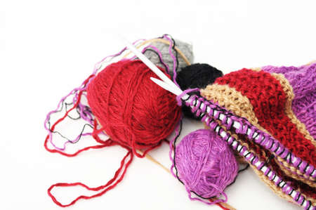 avocation: Colored woolen yarns and unfinished handmade needle knitting