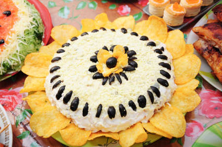 convivial: sunflower dish on setout for celebrating Christmas Stock Photo