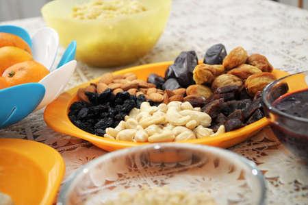 eastward: almond, cashew, fig, sycamine, date, raisin, plum on plate