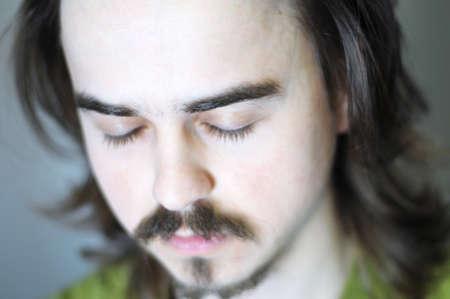 meditation man: portrait of european meditation man eyes closed