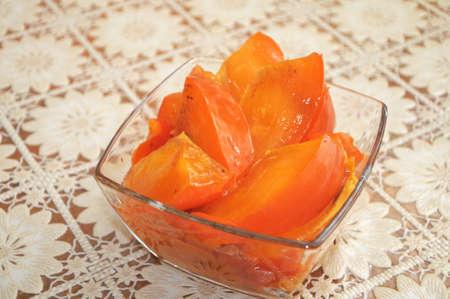 ebony: splitted raw fresh ebony in the plate Stock Photo