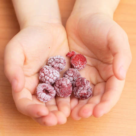 freezer: frozen raspberries just from the freezer in the child palms