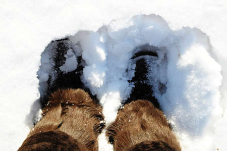 Winter boots with natural fur in deep snow
