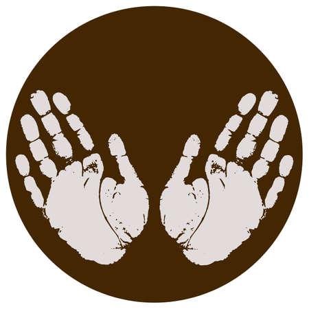 hand print: Hand print icon Illustration