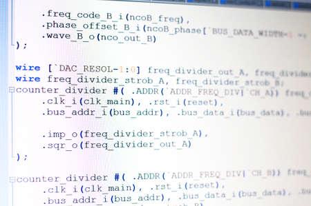 light display: Program coding on light display on quartus language Stock Photo