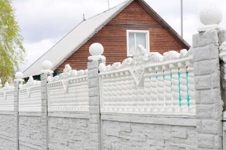cottage fence: Concrete fence in outdoor decoration of cottage