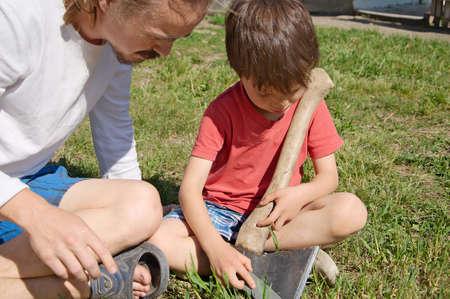 cusp: Daddy breeding boy in ax blade sharpening