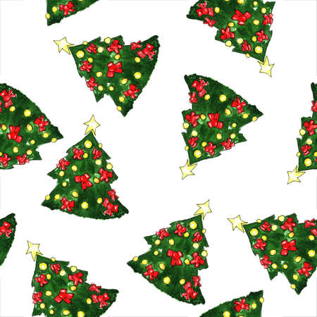 aquarelle: New Year Firtree Aquarelle watercolor Seamless Pattern with star and toys