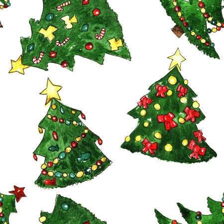 firtree: Christmas Fir-tree Watercolor Seamless Pattern with star and toys Stock Photo