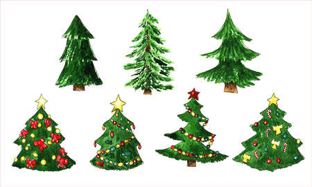 fir tree: Fir tree for Christmas and New Year set Stock Photo