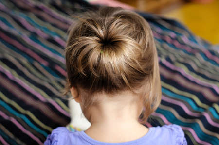 ponytail: back view of baby girl, Child girl first hair style - tiny ponytail Stock Photo