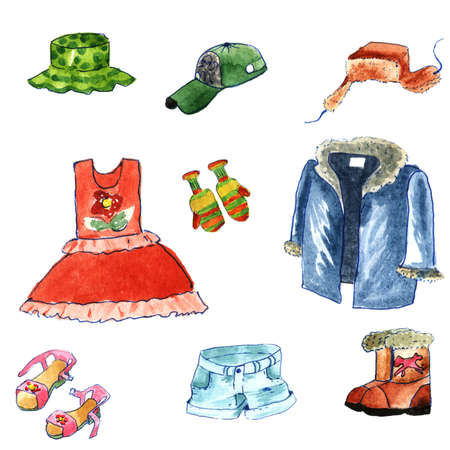 Hand drawn watercolor clothes cartoon style isolated on white background. winter and summer cloth: fur cap with ear flaps,fur coat,  jackboot,dress,shorts,hat,cap and sandals