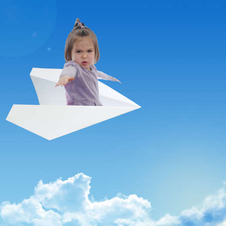 little brave girl fly on a paper plane in sky above clouds. Contemporary art collage. dream like