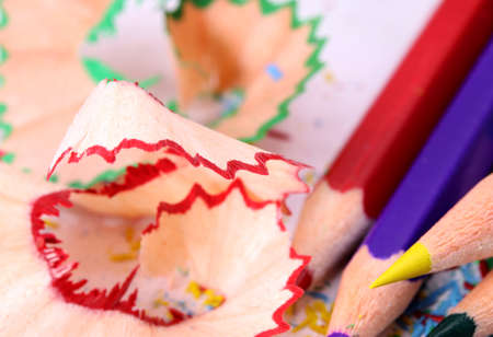 colored pencils and sharpener residues