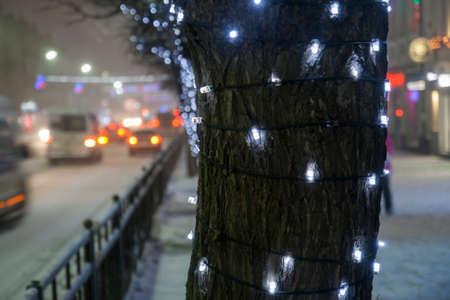 New Years lights on Lenin Avenue, Tula
