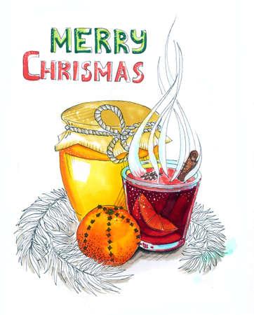 Christmas mulled wine with honey and orange
