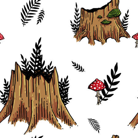 Stump seamless pattern on white background Vektorgrafik