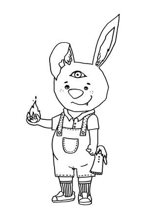 Halloween line art rabbit with a third eye in a jumpsuit with a doll in one hand and a flame in the other.