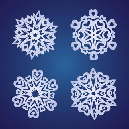 A set of vector white magic detailed snowflakes on a blue gradient background with highlights. 矢量图像