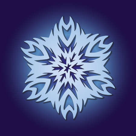 Light cute gradient snowflake glowing on a dark blue background