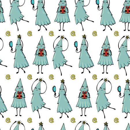 Vector Christmas pattern with cartoon light blue Christmas trees that are preparing for the celebration.