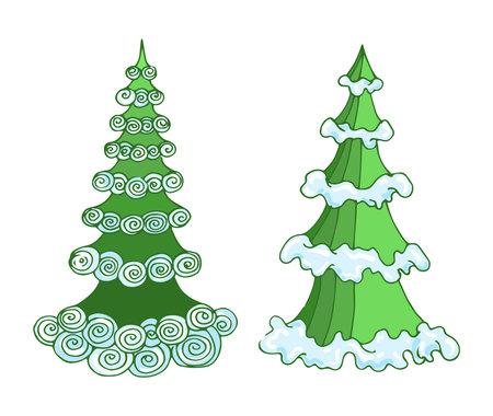 Vector hand-drawn Christmas trees in cartoon sketch style painted in rich green colors with bluish bright snow. Ilustración de vector