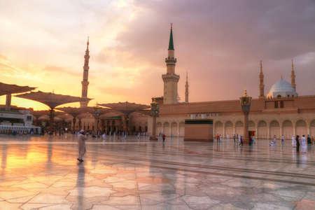 Al Masjid an Nabawi - Medina - Saudi Arabia - beautiful sunset - marble