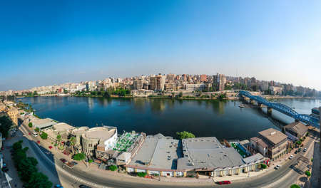El Mansoura / Egypt - 7 Sep 2019 - Landscape panoramic view of river Nile in Mansoura city - Panorama - Dakahlia Governorate or Dakahliya governor