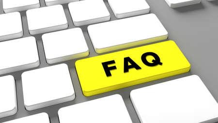 FAQ Keyboard button faq - internet Online assistance at website Frequently Asked Questions - concept customer service - 3d illustration