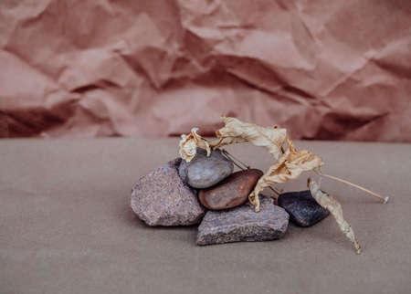 Dry autumn leaf on the rocks. The concept of wabi Sabi. Craft background 版權商用圖片