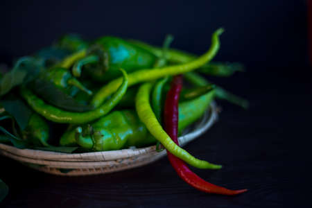 I grew up in the garden peppers fresh and colorful Stock fotó