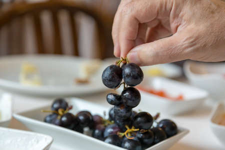 old male hand holding fresh black grapes and currant