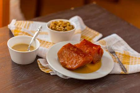pumpkin dessert of traditional Turkish sweets: eaten with walnut, tahini as desired