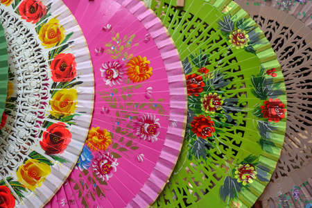 colorful and fashionable fans at the street vendors in ispaya