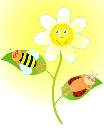 sunbathing: ladybug and bee sunbathing on a flower in sunglasses Illustration