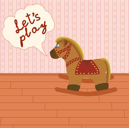 Rocking horse in the room with speech bubble Vector