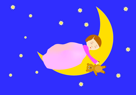 Girl sleeping on the moon holding a teddy bear Vector