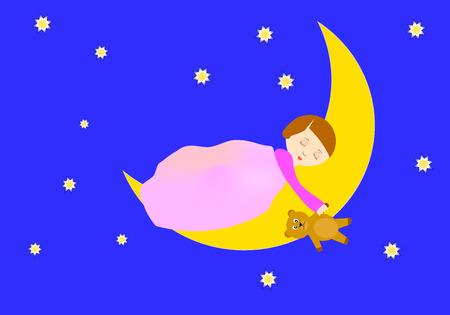 Girl sleeping on the moon holding a teddy bear Stock Vector - 27931893