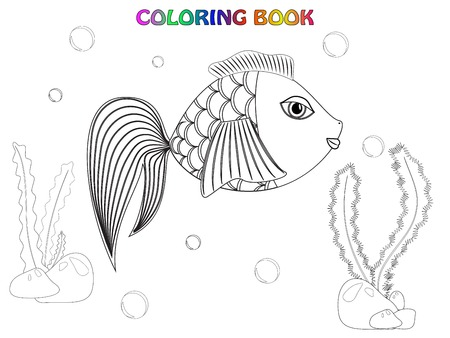 Fish coloring book Vector