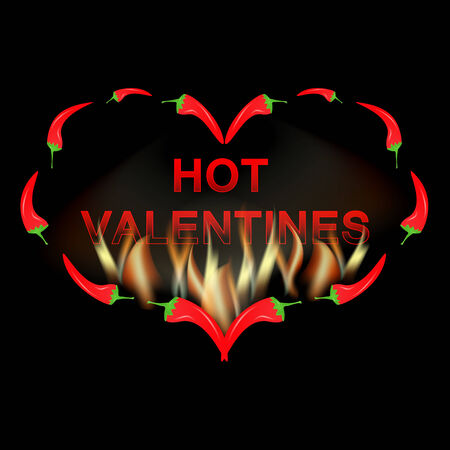 Valentine card red pepper in fire Vector